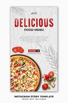 Modelo de banner nas mídias sociais para postar histórias no instagram para restaurante fastfood menu pizza