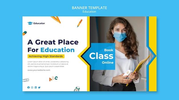 Modelo de banner online para aulas de livro
