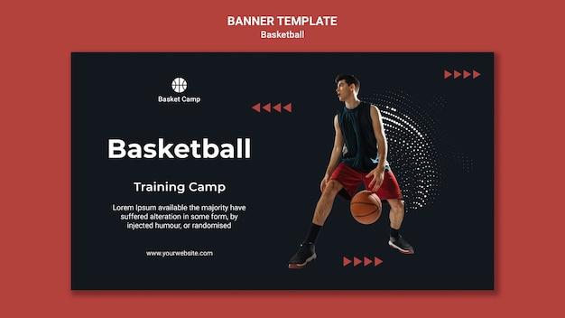 Modelo de banner para acampamento de treinamento de basquete