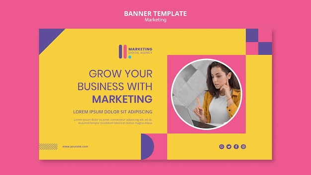 Modelo de banner para agência de marketing criativo