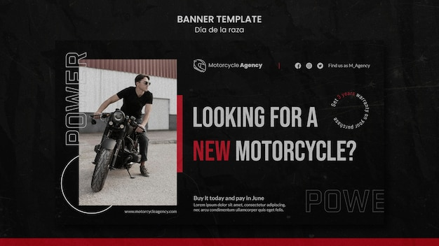Modelo de banner para agência de motocicletas com piloto masculino