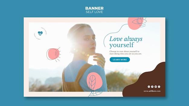 Modelo de banner para amor próprio e aceitação
