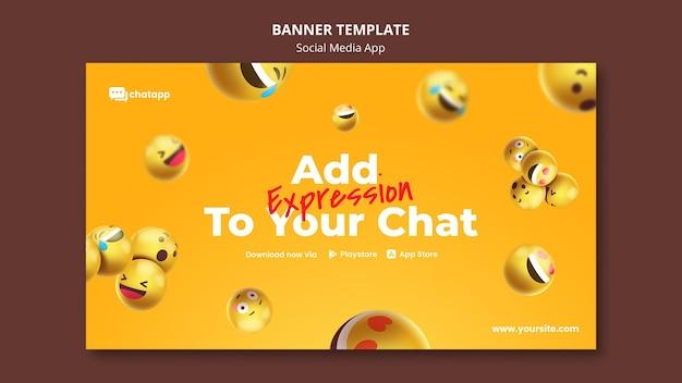 Modelo de banner para aplicativo de bate-papo de mídia social com emojis