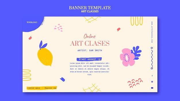 Modelo de banner para aulas de arte