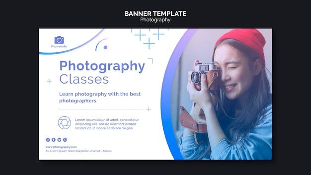 Modelo de banner para aulas de fotografia
