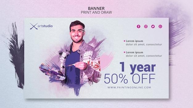 Modelo de banner para aulas de pintura on-line