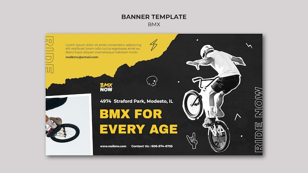 Modelo de banner para bmx biking com homem e bicicleta