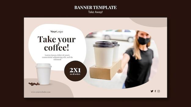 Modelo de banner para café para viagem