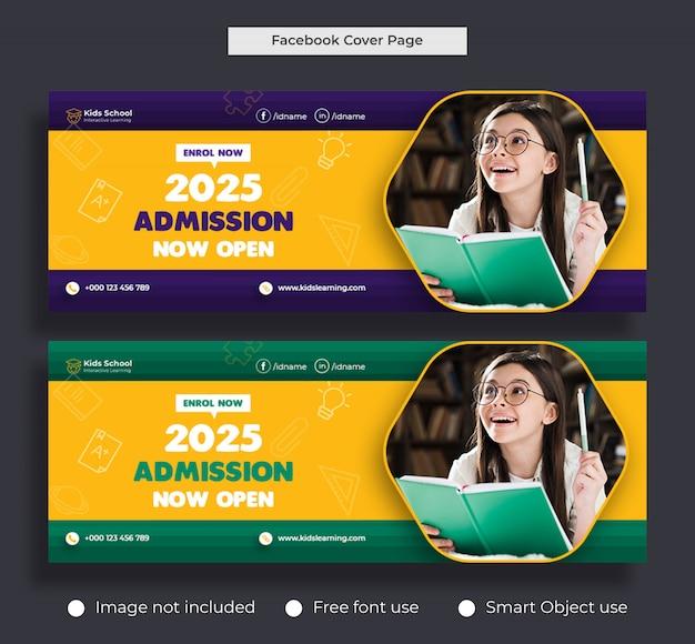 Modelo de banner para capa de facebook & web para admissão de educação infantil