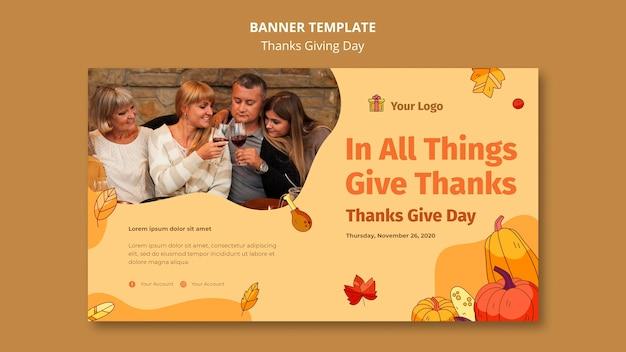 Modelo de banner para celebração de ação de graças