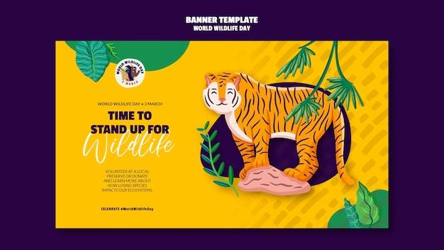 Modelo de banner para celebração do dia mundial da vida selvagem