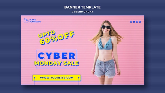 Modelo de banner para compras cibernéticas de segunda-feira