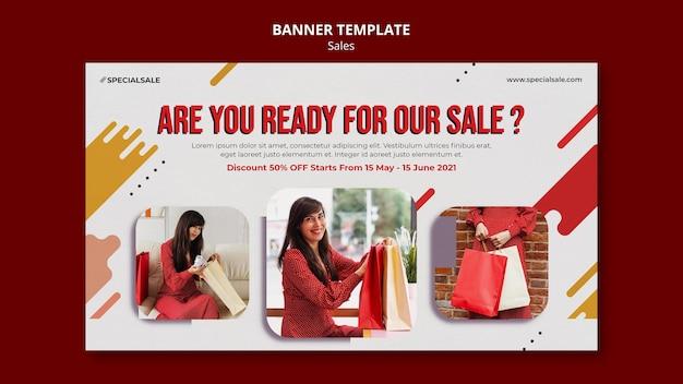 Modelo de banner para compras de moda