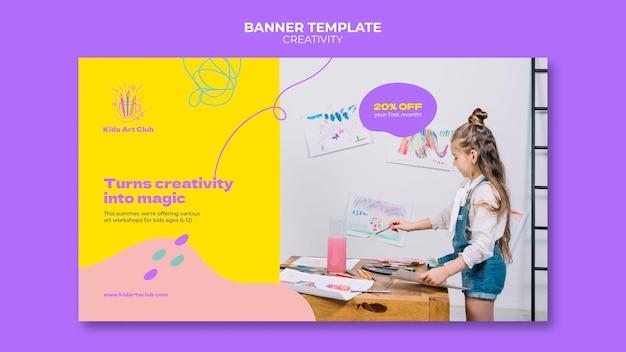 Modelo de banner para crianças criativas