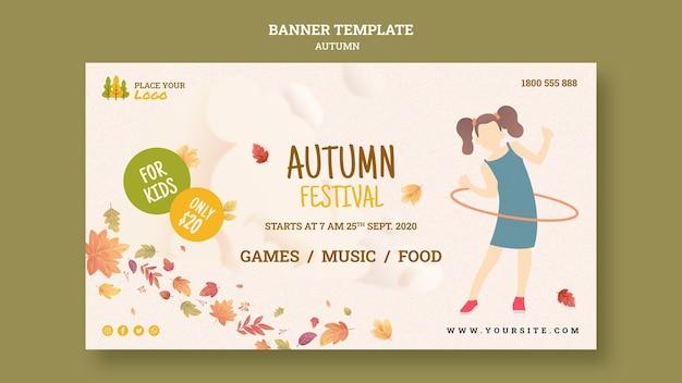 Modelo de banner para crianças no festival de outono