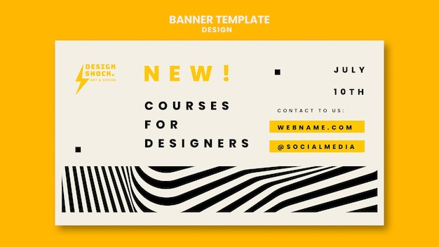 Modelo de banner para cursos de design gráfico