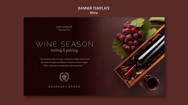 Modelo de banner para degustação de vinhos com uvas