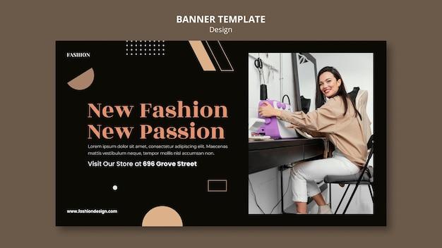 Modelo de banner para designer de moda