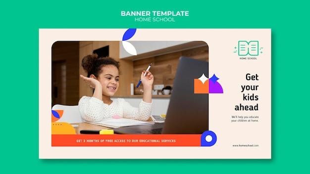 Modelo de banner para educação em casa