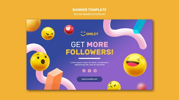 Modelo de banner para emoticons de aplicativos de mídia social
