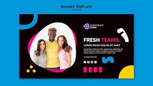 Modelo de banner para equipe corporativa criativa