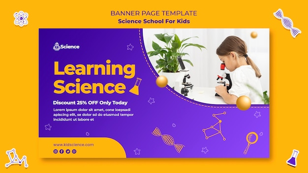 Modelo de banner para escola de ciências para crianças