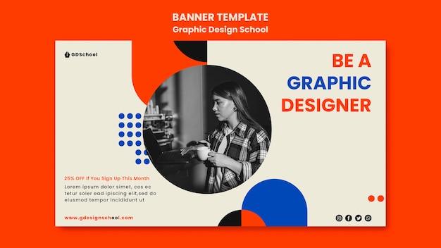 Modelo de banner para escola de design gráfico