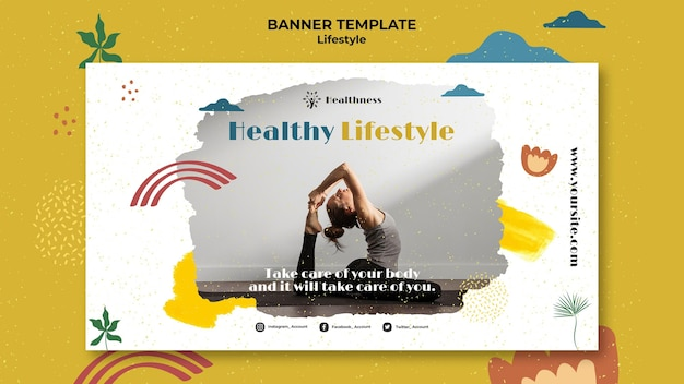 Modelo de banner para estilo de vida saudável
