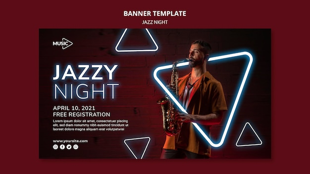 Modelo de banner para evento noturno de jazz neon