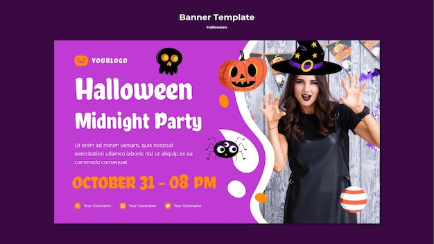 Modelo de banner para festa à meia-noite de halloween
