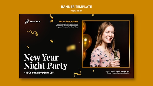 Modelo de banner para festa de ano novo com mulher e confete