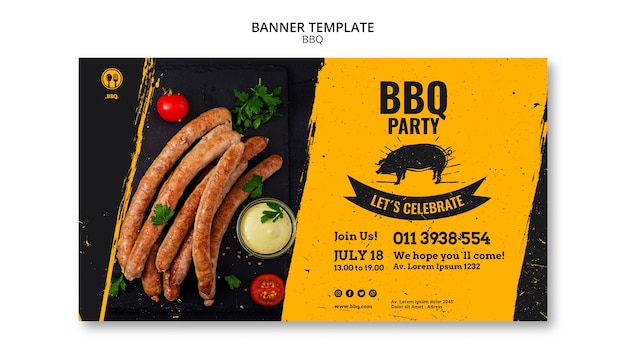Modelo de banner para festa de churrasco