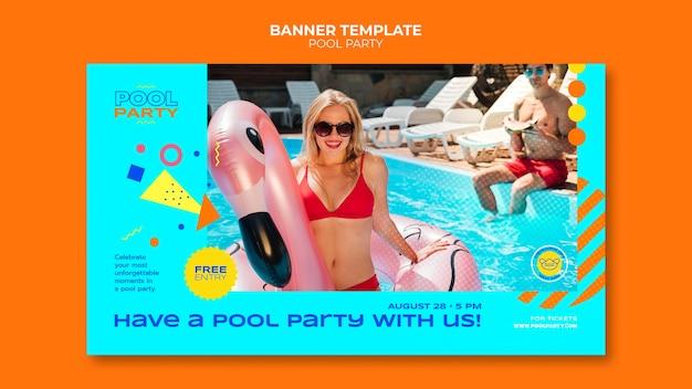 Modelo de banner para festa na piscina