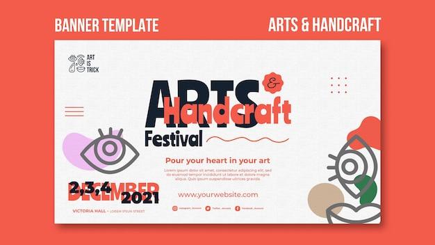 Modelo de banner para festival de artes e artesanato