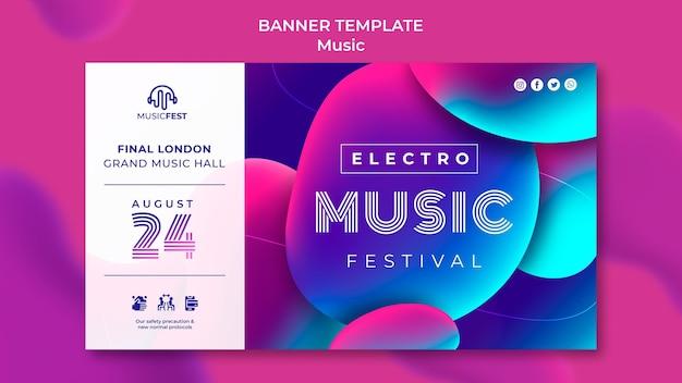 Modelo de banner para festival de música eletro com formas de efeito líquido neon
