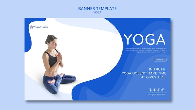 Modelo de banner para fitness de ioga