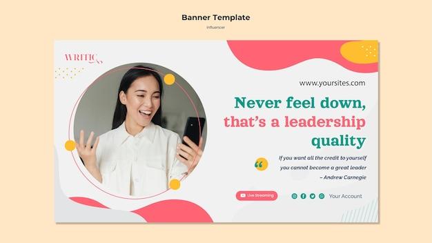 Modelo de banner para influenciadora feminina nas redes sociais