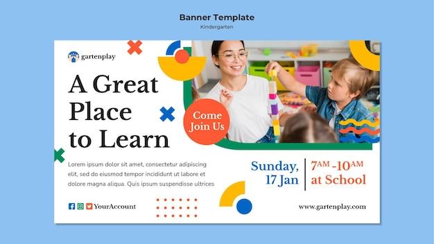 Modelo de banner para jardim de infância com crianças