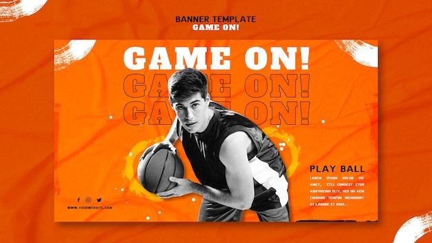 Modelo de banner para jogar basquete