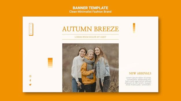 Modelo de banner para marca de moda de outono minimalista