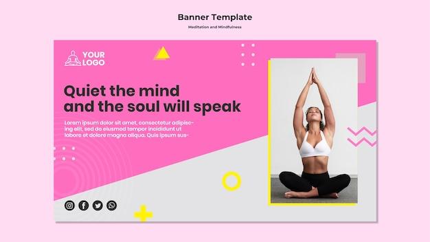 Modelo de banner para meditação e atenção plena