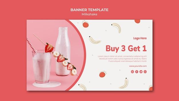 Modelo de banner para milkshake de morango