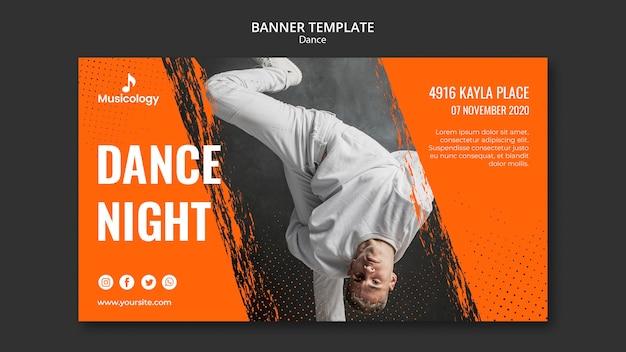 Modelo de banner para musicologia de homem dançando