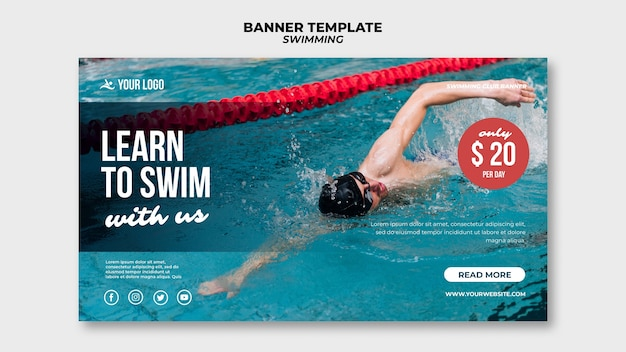 Modelo de banner para nadar com nadador profissional