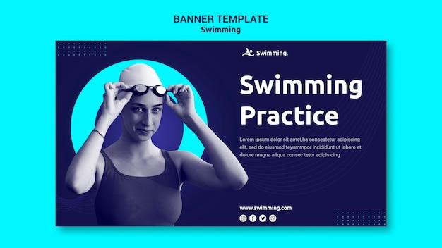 Modelo de banner para natação com nadadora