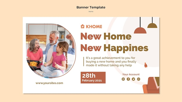Modelo de banner para nova casa de família