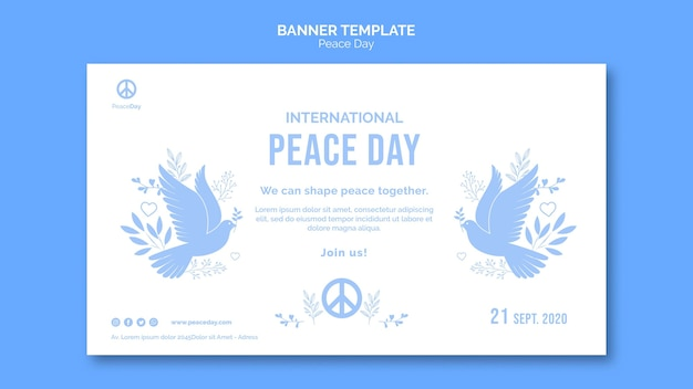 Modelo de banner para o dia da paz