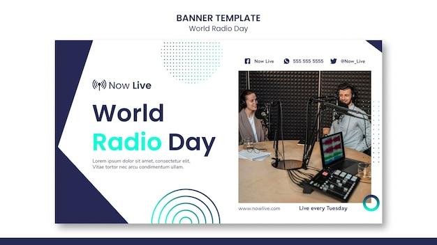 Modelo de banner para o dia mundial do rádio