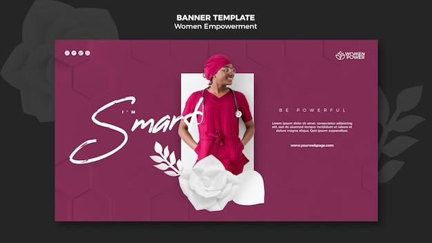 Modelo de banner para o empoderamento das mulheres com palavras de incentivo