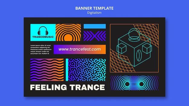 Modelo de banner para o festival de música trance de 2021
